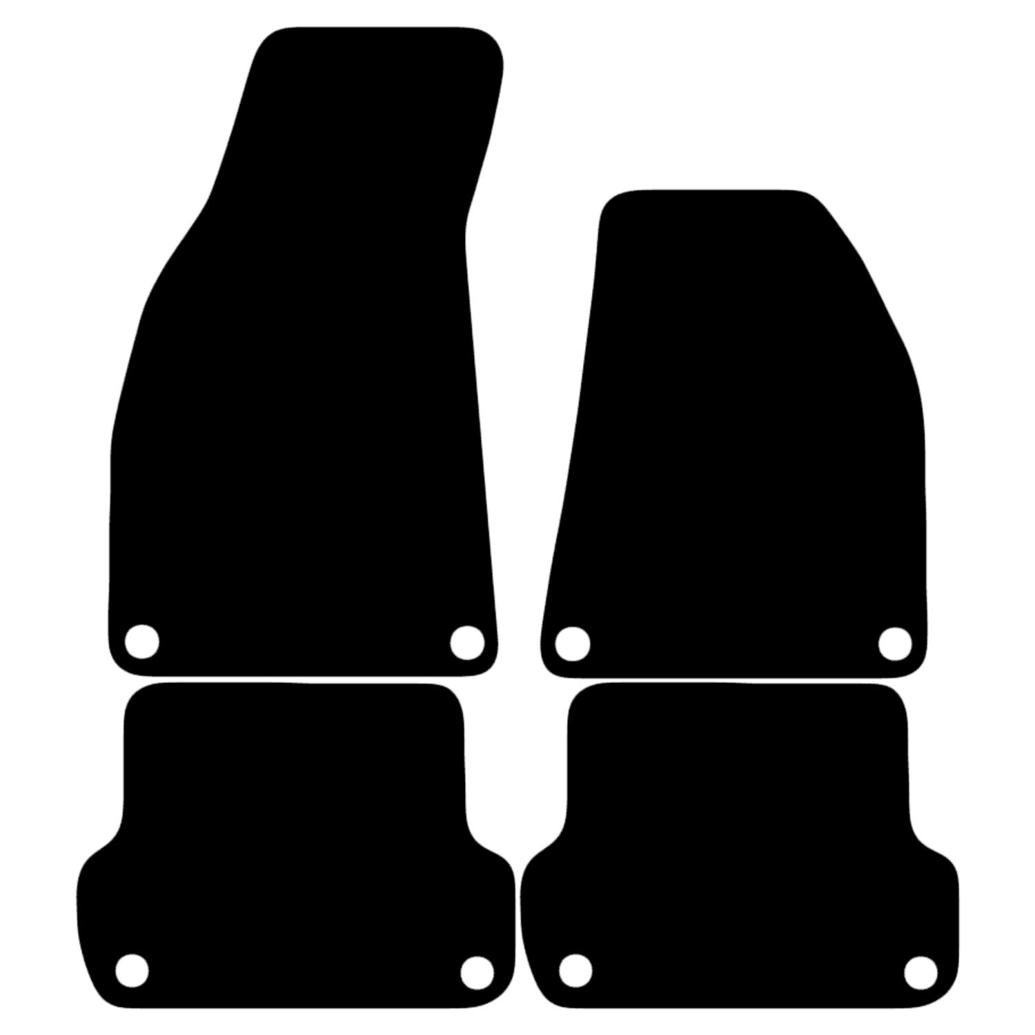 Carsio Tailored Black Carpet Car Mats for A4 B7 2006-2008 - 4 Piece Set with 8 Clips