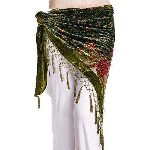 ZLTdream Women's Belly Dance Trangular Hip Scarf Grade Velvet Green