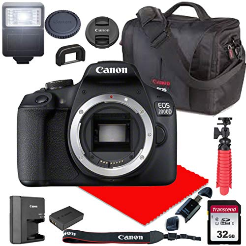 Canon EOS 2000D / Rebel T7 DSLR Camera Body Only (No Lens) + Canon Case + 32GB SD Card (13pc Bundle)