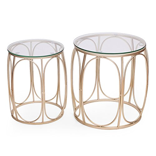 Joveco 2 Pieces Side Table Creative Metal Frame with Glass End Table (01)