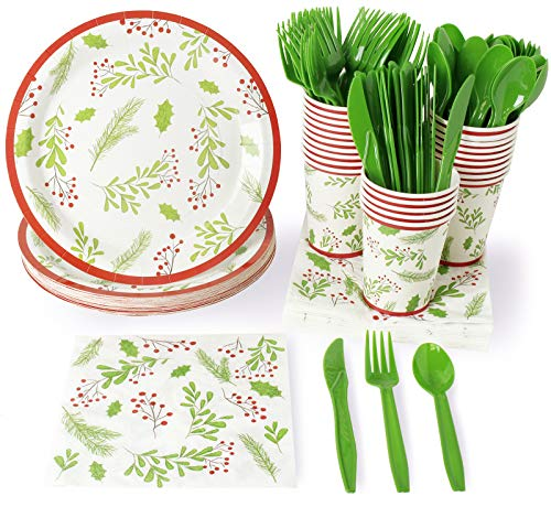 Christmas Disposable Dinnerware Set - Serves 24 - Festive Holiday Party Supplies, Holly Berry and Leaves Design, Includes Plastic Knives, Spoons, Forks, Paper Plates, Napkins, Cups