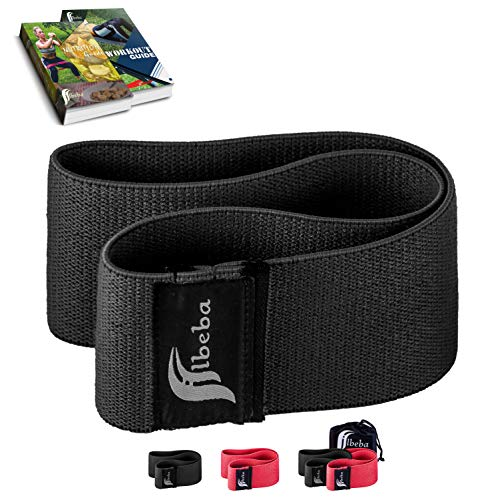 Albeba Hip Band Resistance Bands for Legs and Butt Exercises - Glute Bands for Women & Men - Hip Abductor Booty Squat Workout - Thick Wide Cloth Training Loop - Non-Slip/Roll (Black, L/XL)