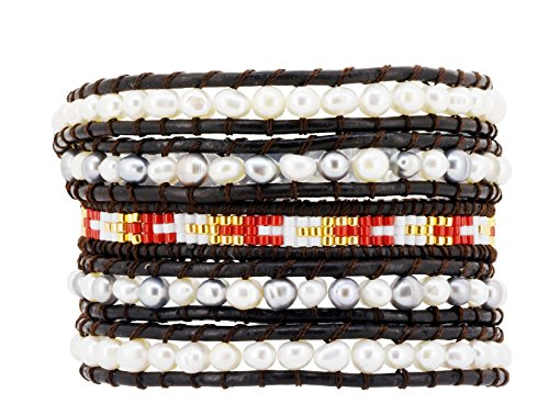 Womens Long Seed Bead Dyed Freshwater Cultured Pearl Wrap Around Leather Bracelet (Gray & White)