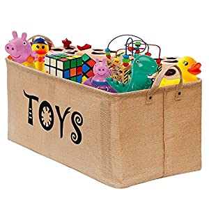 Toy Storage Bin Organizer Extra Large (2 Pack) UPDATE 2018 With 5pcs Plastic for Kids - Children Toys, Blankets, Clothes/Pet/Dog/Cat - Toy Chest Baskets Perfect for Kid Rooms/Playroom/Shelves