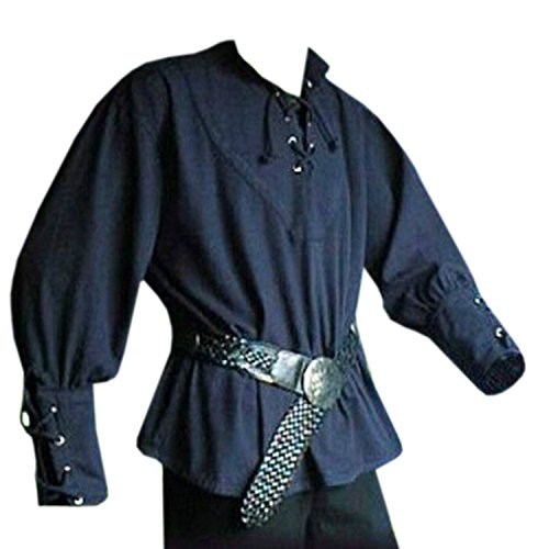 Mens Medieval Pirate Lace Up Shirts Viking Tee Renaissance Costume Scotttish Mercenary Cosplay T Shirts Tops Blue -