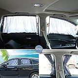 BELUPAI Car Window Curtain, 2 x 50L Adjustable Car Window Sun Shades Blinds Back Seat Shades Curtains Drape Visor Valance Curtain Universal Car Curtains Fit for Cars Trucks (Gray)