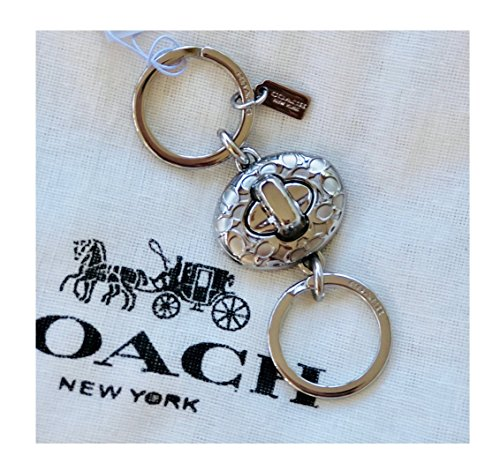 COACH Signature C Turnlock Valet Key Ring Silver F65501 - Coach Ring