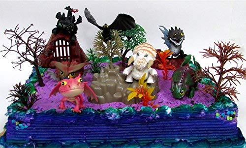14 Piece HOW TO TRAIN YOUR DRAGON Themed Birthday Cake Topper Set Featuring NIGHT FURY TOOTHLESS and Friends Characters and Decorative Themed Accessories
