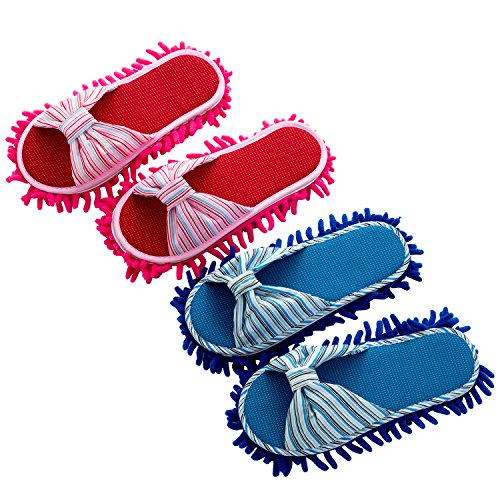 2 Pairs Microfiber Slipper Cleaning Mop Slippers Cotton Flax Washable Detachable House Shoe Cover Dust Floor Cleaner for Bathroom Office Kitchen, Rose Red + Deep Blue