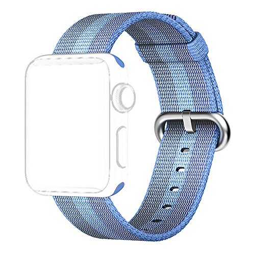 Tentan Woven Nylon Strap Replacement Nylon Band for Apple Watch Band Series 3 Series 2 Series 1 All Versions (38mm Tahoe Blue)