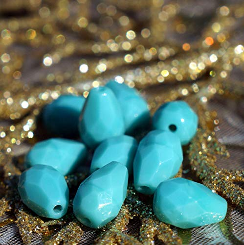 (Opaque Turquoise Czech Faceted Teardrop Beads Czech Glass Faceted Beads Glass Tear Turquoise Fire Polished Czech Beads 10mm x 7mm 6pc)
