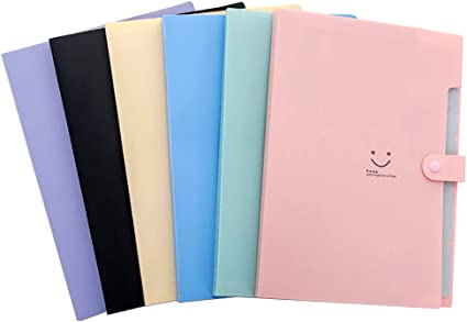 Shuny 6 PCS Carpetas de Plástico Expandibles,Carpeta de Archivos de Expansión,5 Bolsillos,Tamaño A4,para la Escuela y la Oficina: Amazon.es: Oficina y papelería