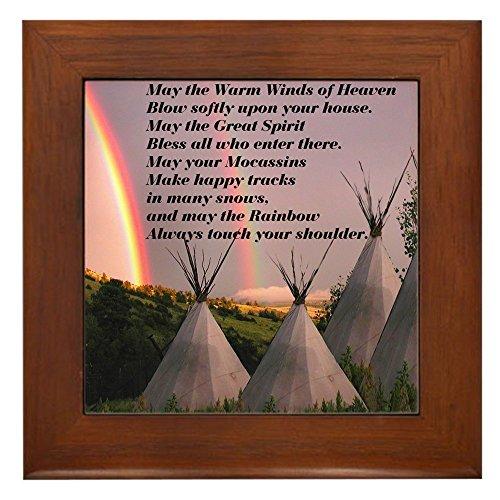 CafePress - Cherokee Blessing Prayer - Framed Tile, Decorative Tile Wall Hanging (American Ceramic Tile)