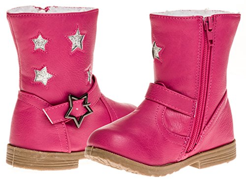 Girls Pink Boots (Sara Z Toddler Girls Boot With Star Buckle (Fuchsia), Size 11-12)
