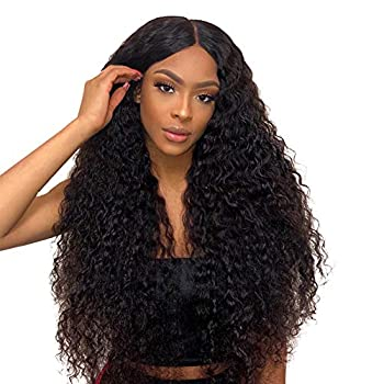 Image of 360 Human Hair Wigs Water Curly Brazilian Virgin Remy Hair Water Wave Lace Frontal Wigs with Baby Hair Pre Plucked Hairline Natural Wigs for Black Women 360 Lace Wig Free Part(24 Inch, Natural Color)