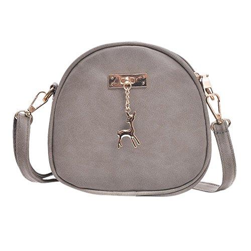 Everpert Cute Zipper PU Leather Shoulder Handbag Women Girl Mini Round Messenger Bag Grey