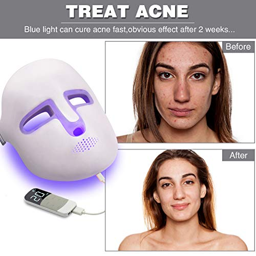NEWKEY Led Light Therapy Facial Mask - Uses Newest Red / Blue / Yellow Light Therapy For Skin Rejuvenation | Whitening|Anti Aging | Smoothening Wrinkles | Weakening Scarring | Lighter Weight And More Comfortable by NEWKEY (Image #1)
