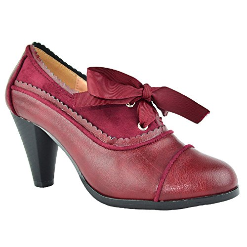Women's Heeled Oxford Classic Retro Two Tone Wing Tip Cut-Out Lace Up Kitten Heel Mary Jane Pump Burgundy - Up Pantyhose Lace Lace