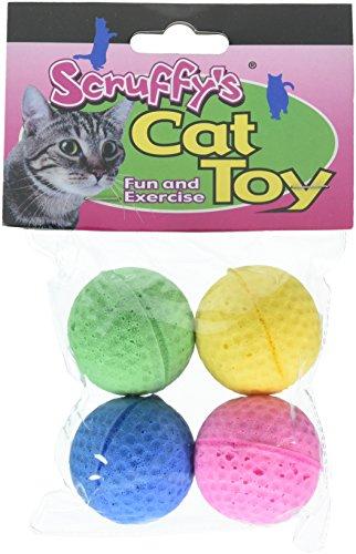 Boss Pet 04467 Scruff's Colorful Kitty Springy Foam Sponge Balls (4 ()