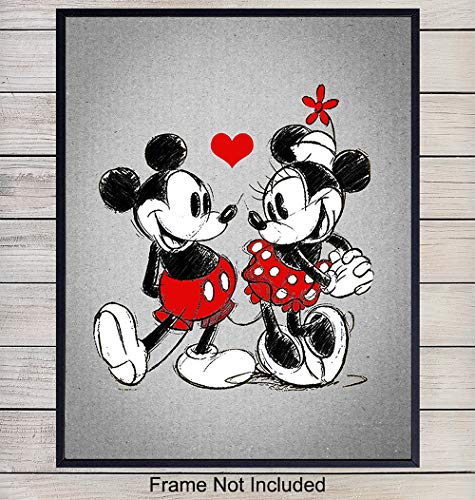 (Mickey Mouse Loves Minnie Mouse Art Print - Wall Art Poster - Chic Home Decor for Child, Baby or Kids Room, Bedroom or Nursery - Great Gift for Disney Fans - 8x10 Photo - Unframed)