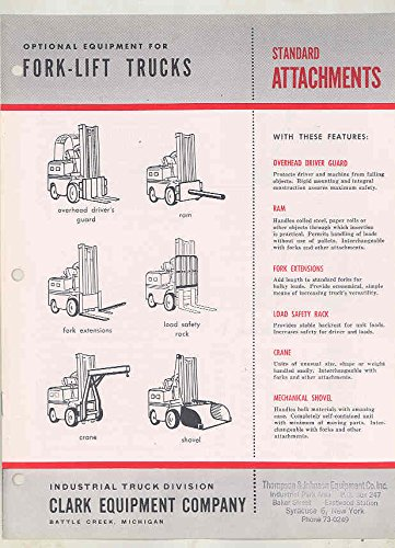 1955 Clark Forklift Truck Optional Equipment & Attachments Brochure - Forklift Truck Attachments
