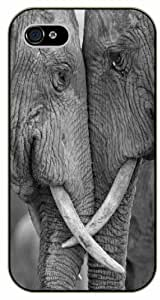 Elephants in love - iPhone 4 / 4s black plastic case / Animals and Nature, elephant, grey