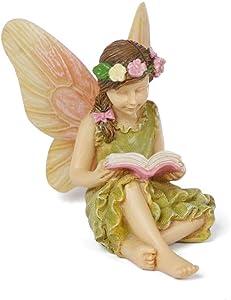 """Miniature Fairy Garden """"A Good Read"""" Fairy Girl Reading a Book"""