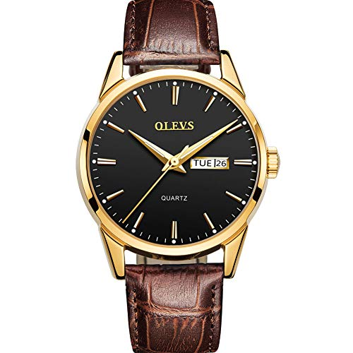 - Men's Quartz Day Date Watch with Brown Leather Band,Mens Sport Casual Fashion Business Wrist Watch,Classic Gold Dress Watches for Men,Water Resistant Luminous Wristwatch,Black Dial