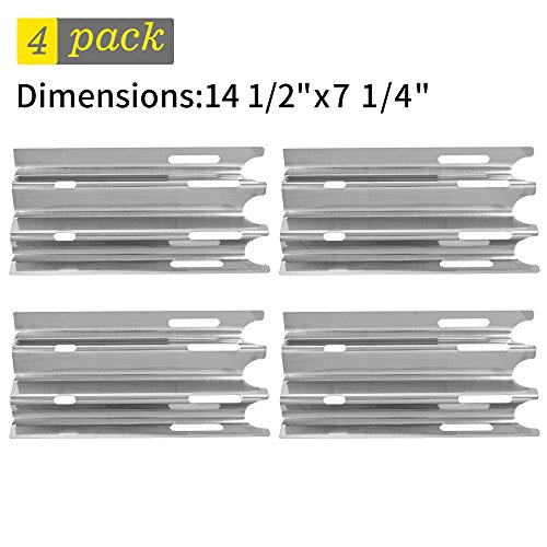 SHINESTAR Gas Grill Replacement Parts for Vermont Castings CF9030, Jenn-Air JA460 and Others, 4-pack 14 1/2 inch Stainless Steel Heat Shield Plate Tent Deflector Burner Cover Flame Tamer(SS-HP001) by SHINESTAR