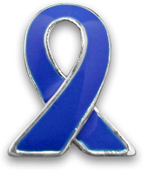 Amazon Com 50 Pack Colon Cancer Dark Blue Awareness Lapel Ribbon Pins 50 Pins In A Bag Arts Crafts Sewing