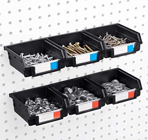 Pegboard Bins - 6 Pack Black - Hooks to Any Peg Board - Organize Hardware, Accessories, Attachments, Workbench, Garage Storage, Craft Room, Tool Shed, Hobby Supplies, Small Parts