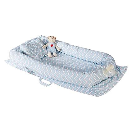 AOLVO Cama Nido Cuna Suave para Bebe, Baby Nest Reductor Protector de Cabeza para Cuna Cama Cojín Almohada de Bebé