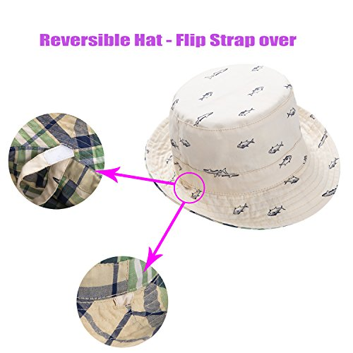 176b61baab9 Eriso Baby Toddler Plaid Bucket Reversible Sun Protection Animal Hat