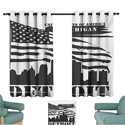 DONEECKL Printed Curtain Detroit Monochrome Grunge City Silhouette American Flag United States Michigan Tie Up Window Drapes Living Room W63 xL63 Charcoal Grey White