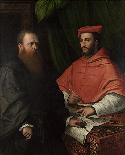 The High Quality Polyster Canvas Of Oil Painting 'Girolamo Da Carpi Cardinal Ippolito De' Medici And Monsignor Mario Bracci ' ,size: 30 X 37 Inch / 76 X 94 Cm ,this High Quality Art Decorative Prints On Canvas Is Fit For Bedroom Gallery Art And Home Decoration And Gifts