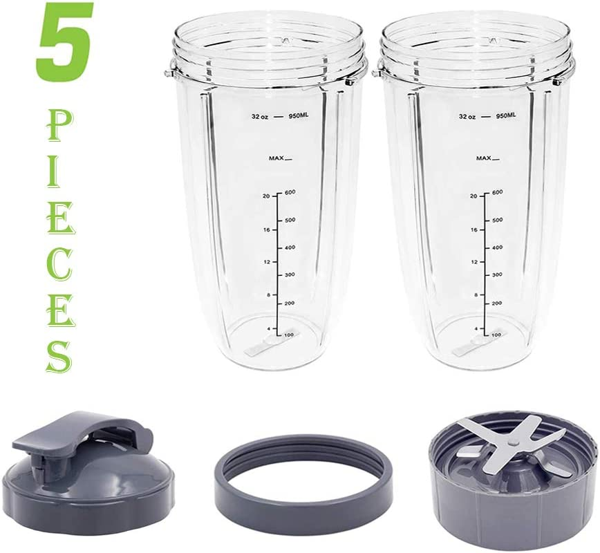 Blender Cups and Blade Replacement, serene freestyle 32 Oz Cups with Flip Top To-Go Lid and Screw-Off Lip Ring & Premium Extractor Blade Compatible with Bullet Blender 600W/900W Models 5 Pieces