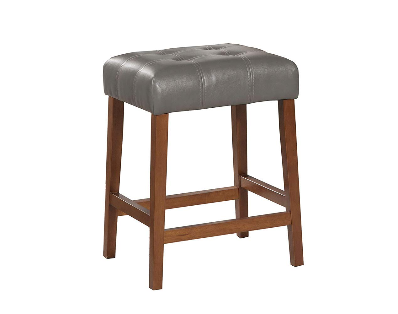 Kinfine HomePop Leatherette Square Tufted Counter Height Stool, Charcoal Grey