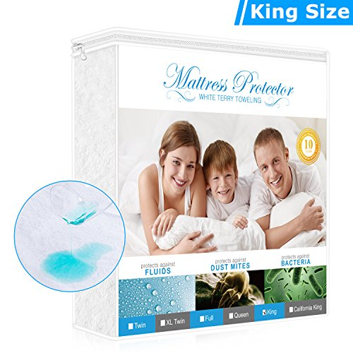 Adoric Life King Size Mattress Protector, Premium Hypoallergenic Waterproof Mattress Cover with Cotton Terry Surface, Vinyl-free and Breathable (King Mattress Protector)