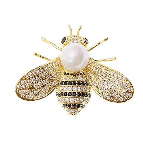 (TULIP LY Honey Bee Brooches Crystal Insect Themed Bee Brooch Animal Fashion Shell Pearl Brooch Pin Gold Tone (White Pearl))