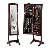 Giantex 14 LED Jewelry Armoire Cabinet Mirror of Full Lenghth Real Glass Womens Makeup Display Standing Mirrored Lockable Jewelry Storage Cabinet Organizer w/ 2 Drawers Key Lock(Brown, with LED)