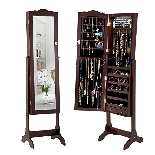 Giantex 14 LED Jewelry Armoire Cabinet Mirror of Full Lenghth Real Glass Womens Makeup Display Standing Mirrored Lockable Jewelry Storage Cabinet Organizer w/ 2 Drawers Key Lock(Brown, with LED) by Giantex