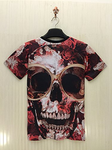 Easy Mens Casual Glasses of the skull Short Sleeve Slim Fit T shirt XXL Red