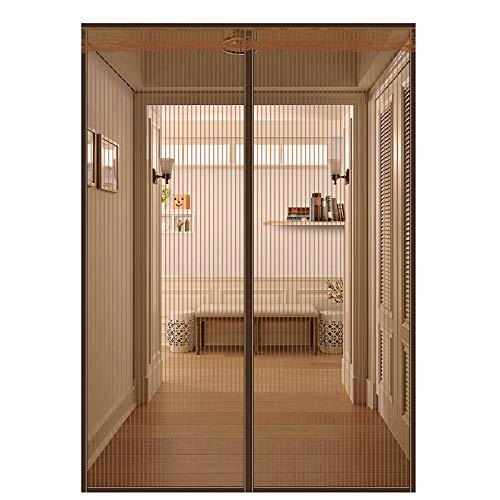 Flei Magnetic Mesh Bug Screen Door, Heavy mesh Curtain, Automatically Closed Foldable Easy to Install, for Living Room/Patio Door - Brown 95x240cm(37x94inch) (Inch 94 Sliding Patio Door)
