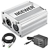 Neewer 1-Channel 48V Phantom Power Supply with Adapter and XLR Audio Cable for Any Condenser Microphone Music Recording Equipment (Silver)