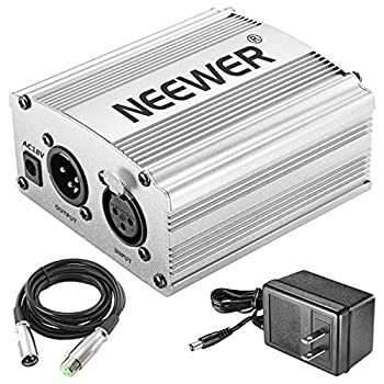 Neewer Phantom Power Kit Includes:1-channel 48v Phantom Power Supply With Adapter & Xlr Audio Cable For Any Condenser Microphone Music Recording Equipment (Silver) 3