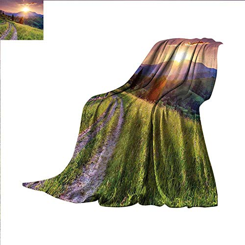 smallbeefly Nature Digital Printing Blanket Sunset in The Mountain Landscape Rural Road Forest Countryside Wonderland Print Deco Summer Quilt Comforter 60