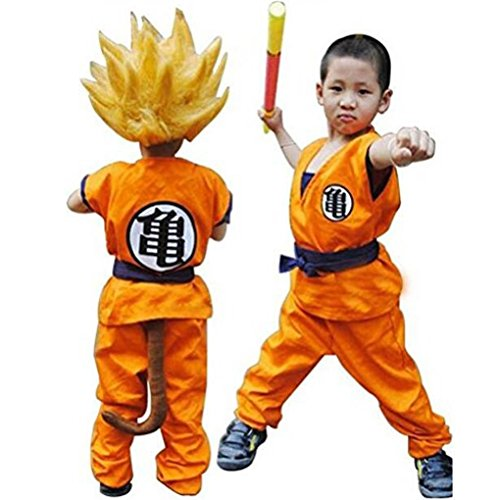 Dragon Ball Z Son Goku Saiyan Cosplay Costume Kids Adult Uniform (Orange, Kids L)