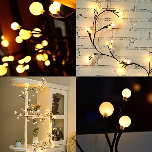 Flexible Rattan LED String Lights with 72 Bulbs Waterproo...