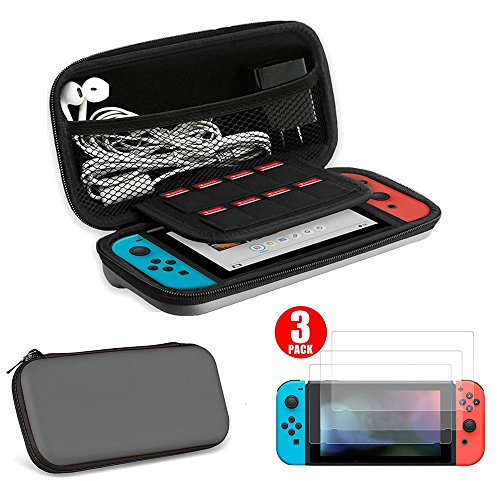 EEEKit 2-in-1 Starter Kit for Nintendo Switch, Protective Hard Travel Carry Accessories Case Bag + 3-pack HD Clear Full Coverage Screen Protector for Nintendo Switch