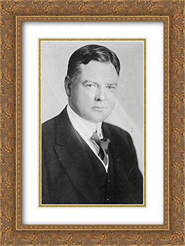 Herbert Hoover 24x16 Double Matted Gold Ornate Framed Art - Galleria Hoover